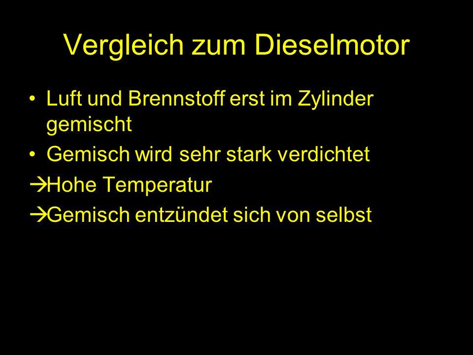 Vergleich zum Dieselmotor Luft und Brennstoff erst im Zylinder gemischt Gemisch wird sehr stark verdichtet Hohe Temperatur Gemisch entzündet sich von