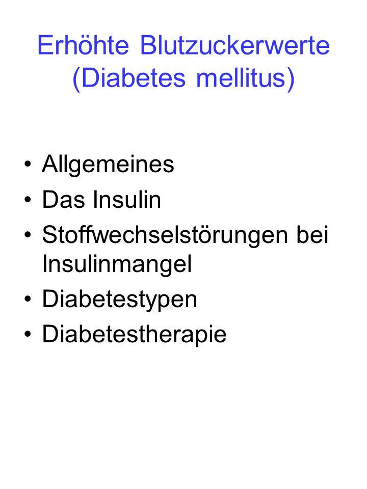 Erhöhte Blutzuckerwerte (Diabetes mellitus) Allgemeines Das Insulin Stoffwechselstörungen bei Insulinmangel Diabetestypen Diabetestherapie