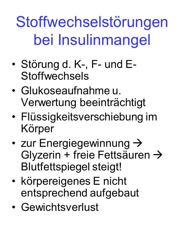Stoffwechselstörungen bei Insulinmangel Störung d. K-, F- und E- Stoffwechsels Glukoseaufnahme u. Verwertung beeinträchtigt Flüssigkeitsverschiebung i