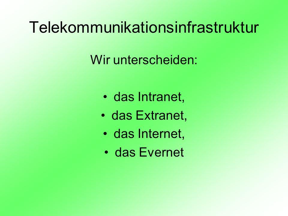 Telekommunikationsinfrastruktur Wir unterscheiden: das Intranet, das Extranet, das Internet, das Evernet