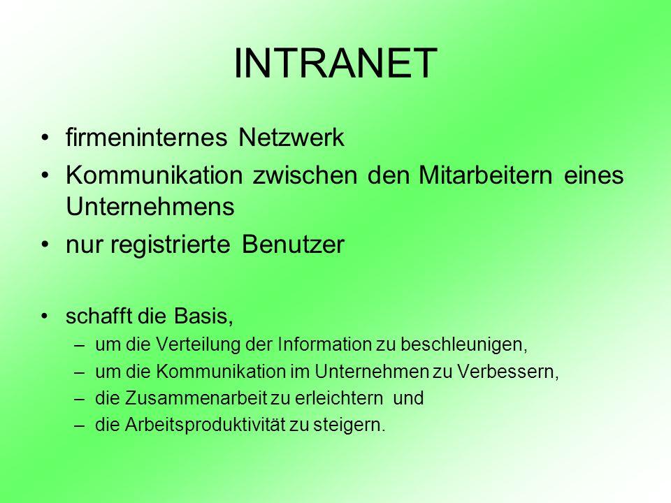 INTRANET firmeninternes Netzwerk Kommunikation zwischen den Mitarbeitern eines Unternehmens nur registrierte Benutzer schafft die Basis, –um die Verte
