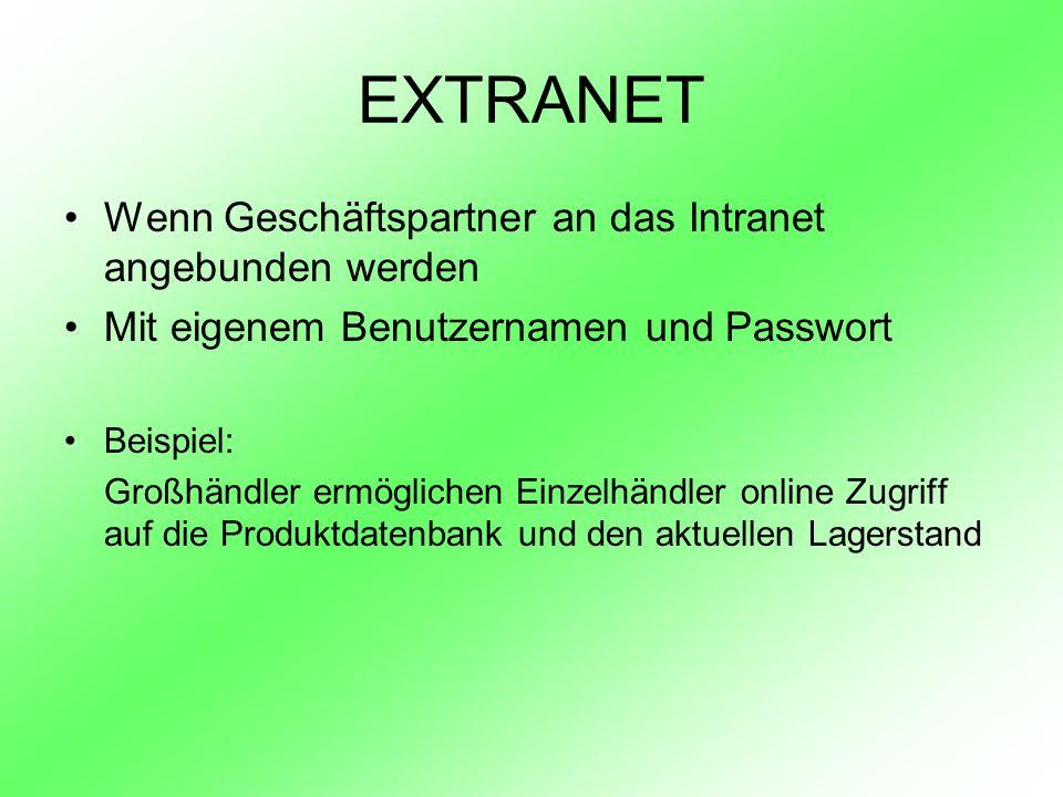 EXTRANET Wenn Geschäftspartner an das Intranet angebunden werden Mit eigenem Benutzernamen und Passwort Beispiel: Großhändler ermöglichen Einzelhändle