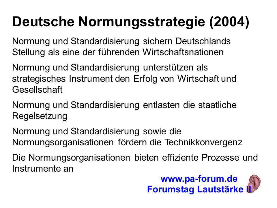 Deutsche Normungsstrategie (2004) Normung und Standardisierung sichern Deutschlands Stellung als eine der führenden Wirtschaftsnationen Normung und Standardisierung unterstützen als strategisches Instrument den Erfolg von Wirtschaft und Gesellschaft Normung und Standardisierung entlasten die staatliche Regelsetzung Normung und Standardisierung sowie die Normungsorganisationen fördern die Technikkonvergenz Die Normungsorganisationen bieten effiziente Prozesse und Instrumente an