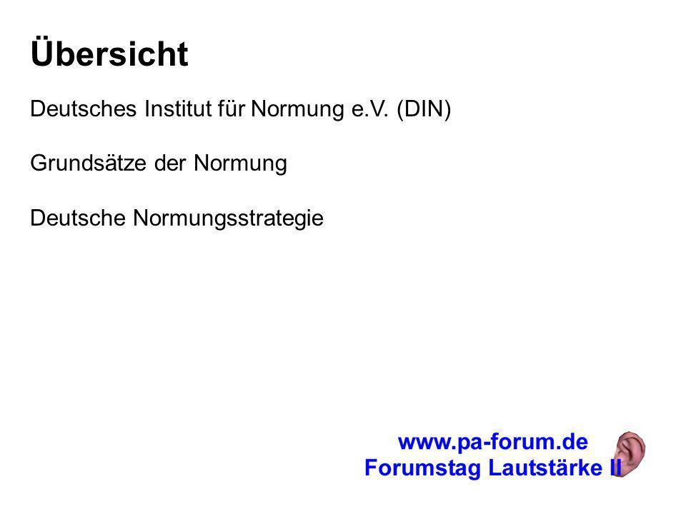 Übersicht Deutsches Institut für Normung e.V. (DIN) Grundsätze der Normung Deutsche Normungsstrategie