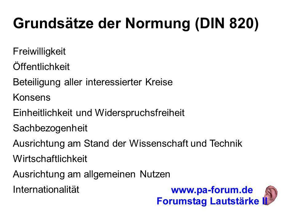 Grundsätze der Normung (DIN 820) Freiwilligkeit Öffentlichkeit Beteiligung aller interessierter Kreise Konsens Einheitlichkeit und Widerspruchsfreihei