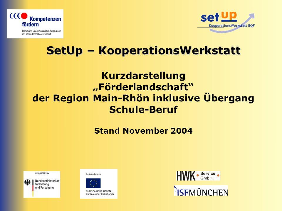 SetUp – KooperationsWerkstatt SetUp – KooperationsWerkstatt Kurzdarstellung Förderlandschaft der Region Main-Rhön inklusive Übergang Schule-Beruf Stan