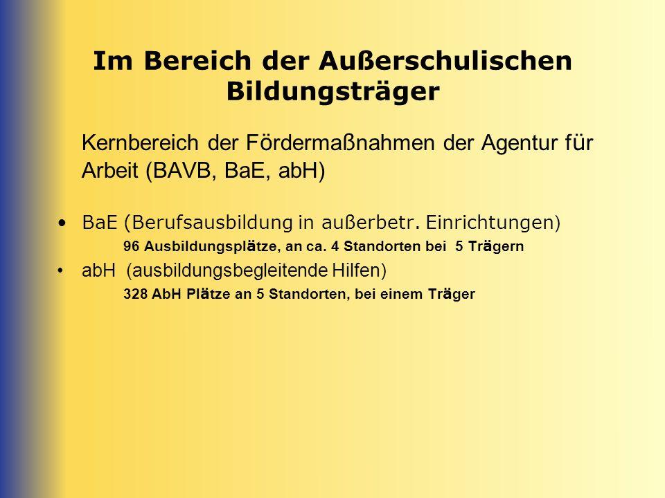 Im Bereich der Außerschulischen Bildungsträger Kernbereich der F ö rderma ß nahmen der Agentur f ü r Arbeit (BAVB, BaE, abH) BaE (Berufsausbildung in