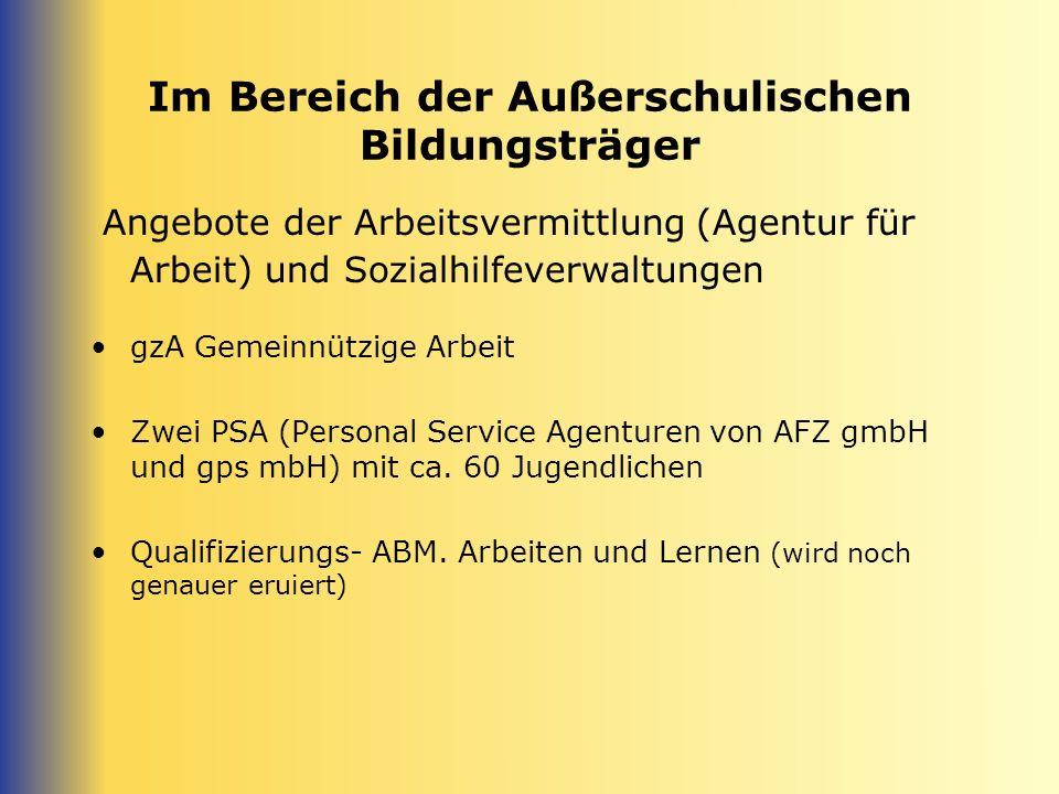 Im Bereich der Außerschulischen Bildungsträger Angebote der Arbeitsvermittlung (Agentur für Arbeit) und Sozialhilfeverwaltungen gzA Gemeinnützige Arbe