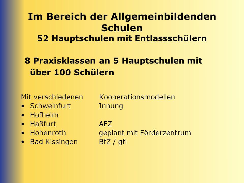 Im Bereich der Allgemeinbildenden Schulen 2 Ganztagsschulen Mit Innovationspotenzial in Richtung schulischer Berufswahlorientierung/ Berufsvorbereitung / Berufsorientierung usw.) Schweinfurt Zeil am Main Haßfurt in Vorbereitung