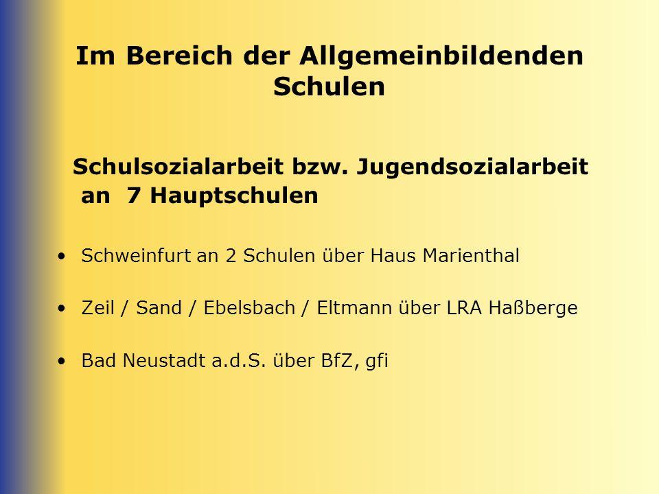 Im Bereich der Allgemeinbildenden Schulen Schulsozialarbeit bzw. Jugendsozialarbeit an 7 Hauptschulen Schweinfurt an 2 Schulen über Haus Marienthal Ze