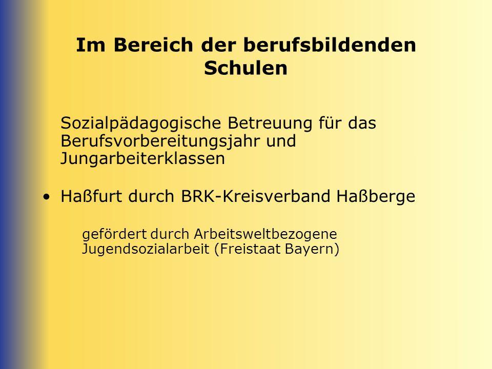 Im Bereich der berufsbildenden Schulen Sozialpädagogische Betreuung für das Berufsvorbereitungsjahr und Jungarbeiterklassen Haßfurt durch BRK-Kreisver