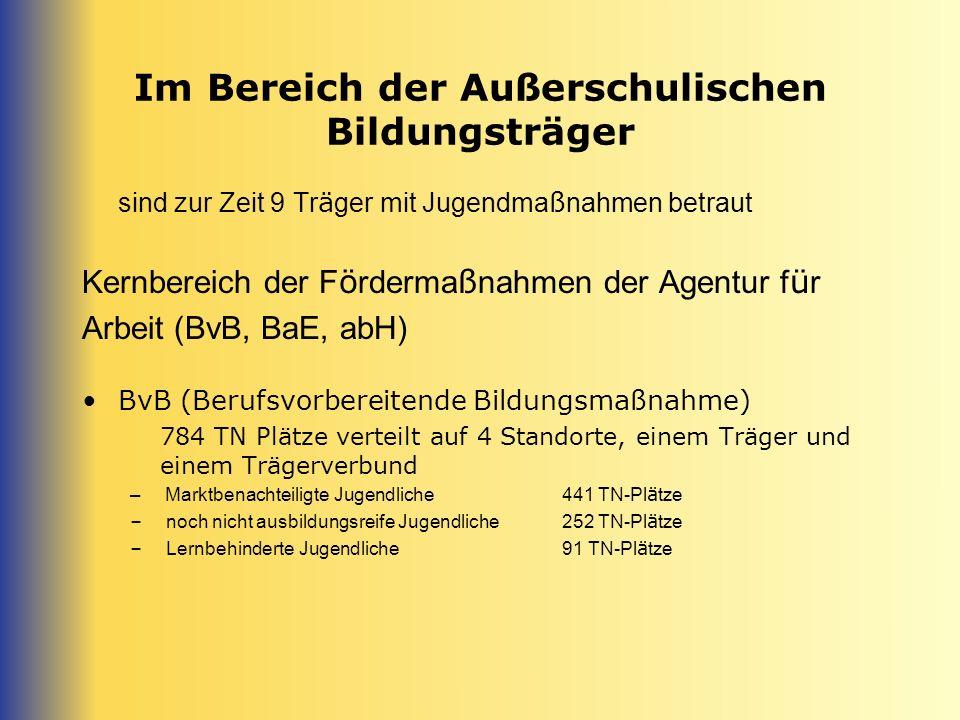 Im Bereich der Außerschulischen Bildungsträger Kernbereich der F ö rderma ß nahmen der Agentur f ü r Arbeit (BAVB, BaE, abH) BaE (Berufsausbildung in außerbetr.