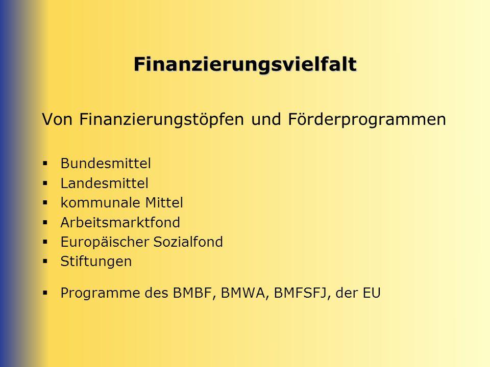 Finanzierungsvielfalt Von Finanzierungstöpfen und Förderprogrammen Bundesmittel Landesmittel kommunale Mittel Arbeitsmarktfond Europäischer Sozialfond Stiftungen Programme des BMBF, BMWA, BMFSFJ, der EU