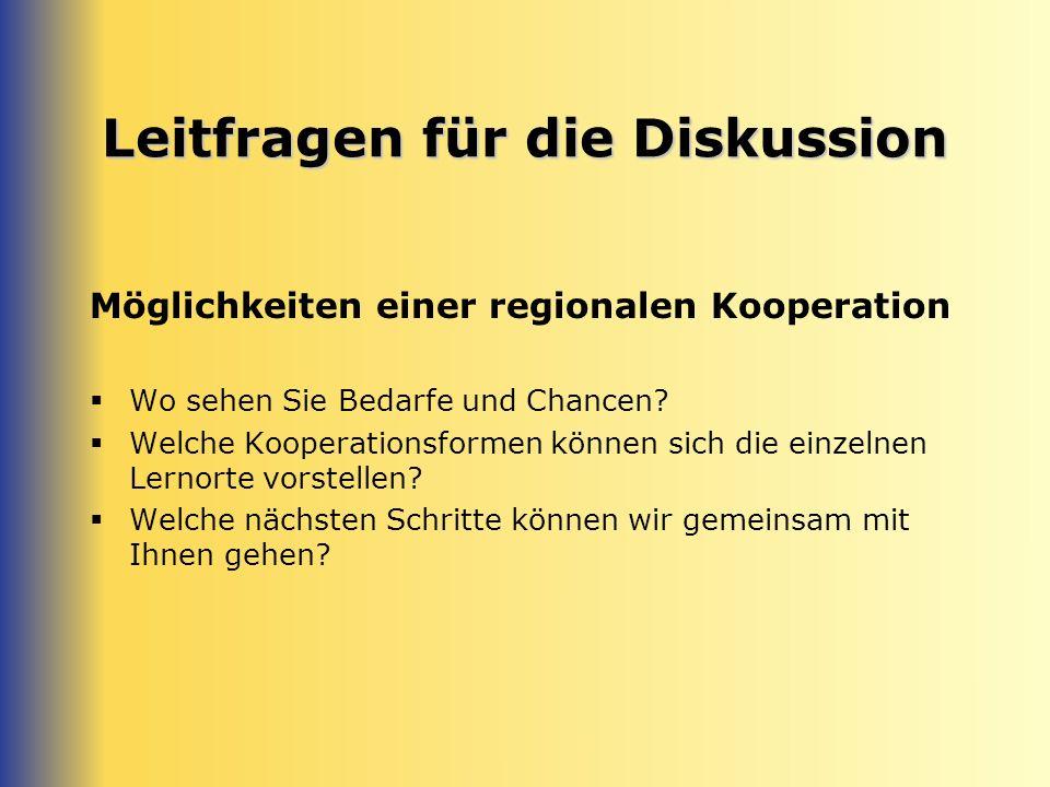 Leitfragen für die Diskussion Möglichkeiten einer regionalen Kooperation Wo sehen Sie Bedarfe und Chancen.