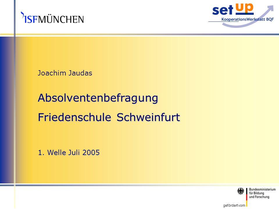gefördert vom Joachim Jaudas Absolventenbefragung Friedenschule Schweinfurt 1. Welle Juli 2005