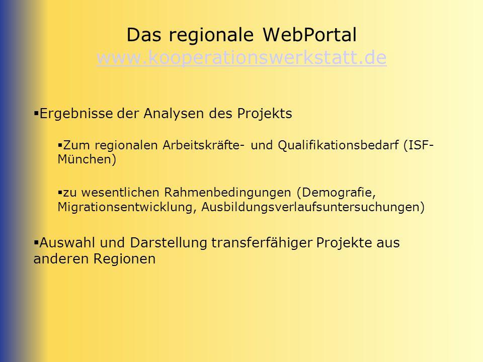 Das regionale WebPortal www.kooperationswerkstatt.de www.kooperationswerkstatt.de Ergebnisse der Analysen des Projekts Zum regionalen Arbeitskräfte- u
