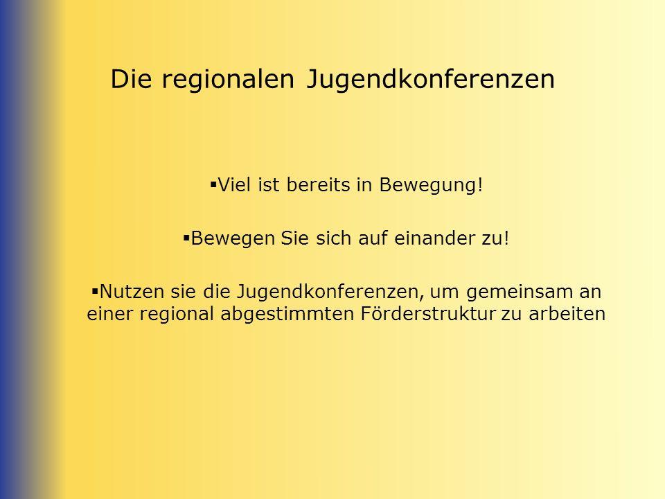 Die regionalen Jugendkonferenzen Viel ist bereits in Bewegung! Bewegen Sie sich auf einander zu! Nutzen sie die Jugendkonferenzen, um gemeinsam an ein