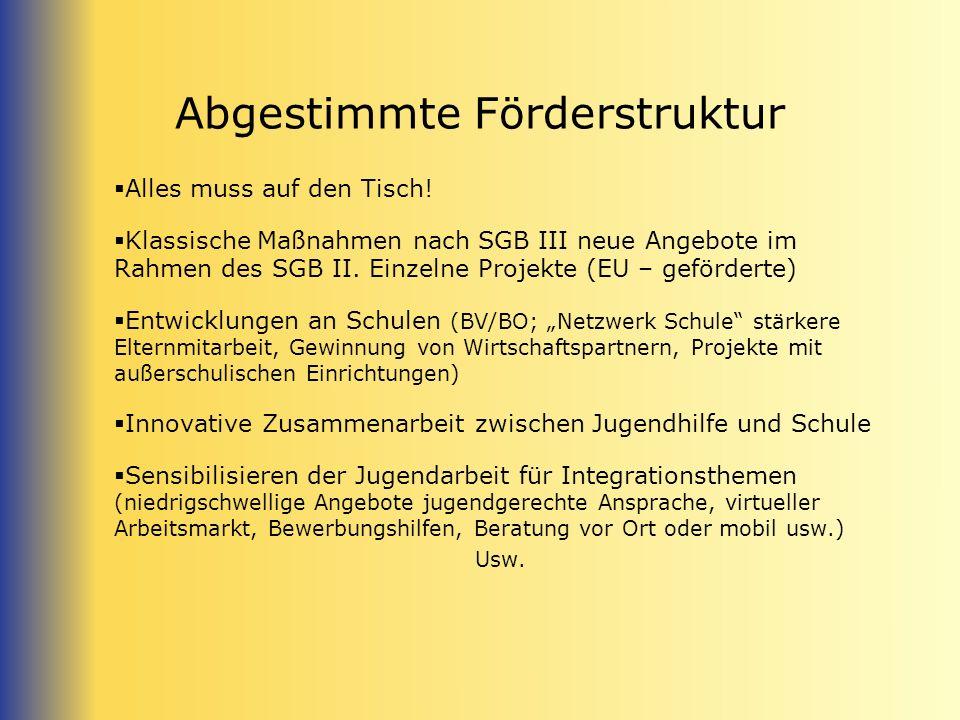 Abgestimmte Förderstruktur Alles muss auf den Tisch! Klassische Maßnahmen nach SGB III neue Angebote im Rahmen des SGB II. Einzelne Projekte (EU – gef