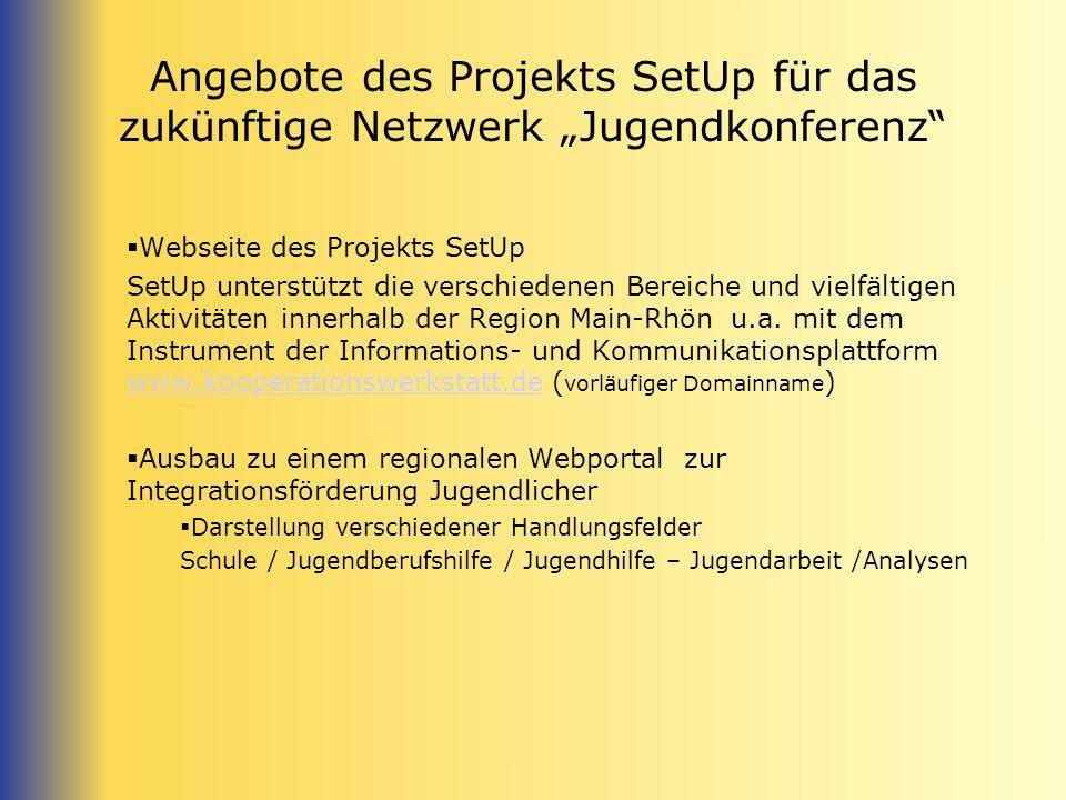 Angebote des Projekts SetUp für das zukünftige Netzwerk Jugendkonferenz Webseite des Projekts SetUp SetUp unterstützt die verschiedenen Bereiche und v