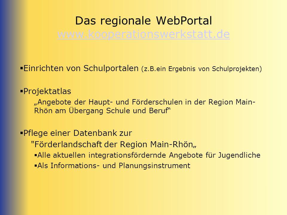 Das regionale WebPortal www.kooperationswerkstatt.de www.kooperationswerkstatt.de Einrichten von Schulportalen (z.B.ein Ergebnis von Schulprojekten) P