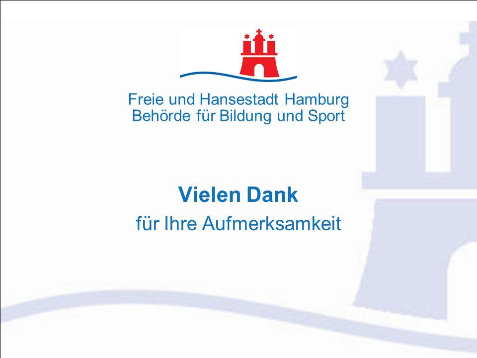 Vielen Dank für Ihre Aufmerksamkeit Freie und Hansestadt Hamburg Behörde für Bildung und Sport