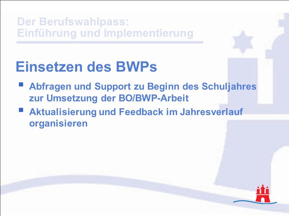 Der Berufswahlpass: Einführung und Implementierung Abfragen und Support zu Beginn des Schuljahres zur Umsetzung der BO/BWP-Arbeit Aktualisierung und F
