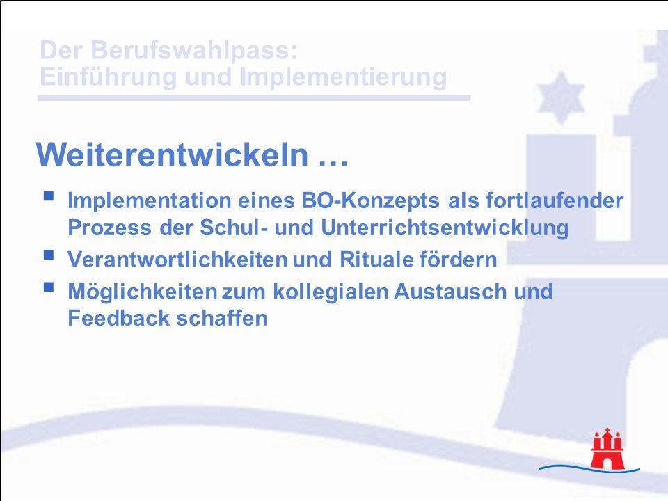 Der Berufswahlpass: Einführung und Implementierung Implementation eines BO-Konzepts als fortlaufender Prozess der Schul- und Unterrichtsentwicklung Ve