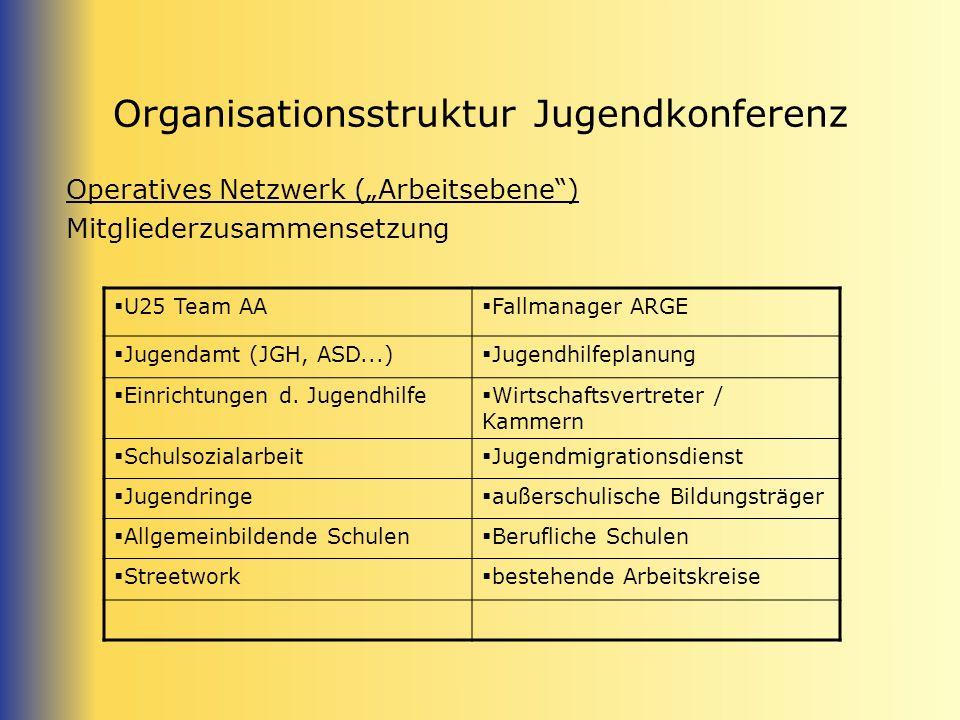 Organisationsstruktur Jugendkonferenz Operatives Netzwerk (Arbeitsebene) Mitgliederzusammensetzung U25 Team AA Fallmanager ARGE Jugendamt (JGH, ASD...) Jugendhilfeplanung Einrichtungen d.