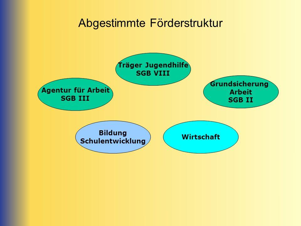 Abgestimmte Förderstruktur Grundsicherung Arbeit SGB II Wirtschaft Träger Jugendhilfe SGB VIII Bildung Schulentwicklung Agentur für Arbeit SGB III