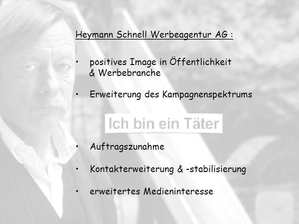 Heymann Schnell Werbeagentur AG : positives Image in Öffentlichkeit & Werbebranche Erweiterung des Kampagnenspektrums Auftragszunahme Kontakterweiterung & -stabilisierung erweitertes Medieninteresse