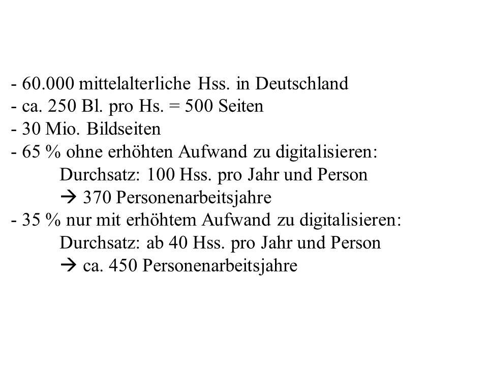 - 60.000 mittelalterliche Hss. in Deutschland - ca. 250 Bl. pro Hs. = 500 Seiten - 30 Mio. Bildseiten - 65 % ohne erhöhten Aufwand zu digitalisieren: