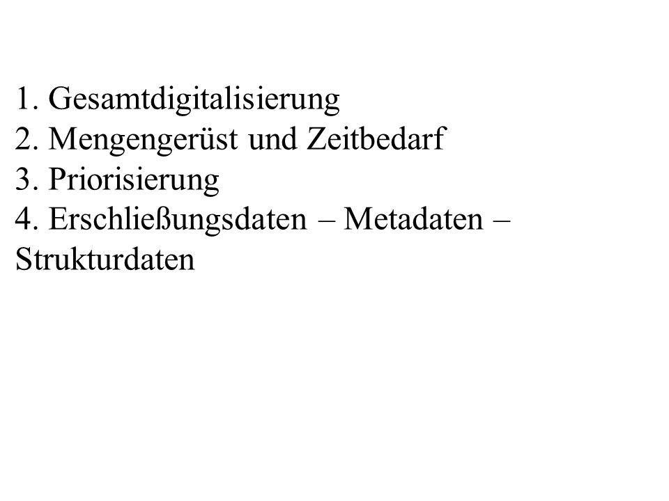 1. Gesamtdigitalisierung 2. Mengengerüst und Zeitbedarf 3. Priorisierung 4. Erschließungsdaten – Metadaten – Strukturdaten