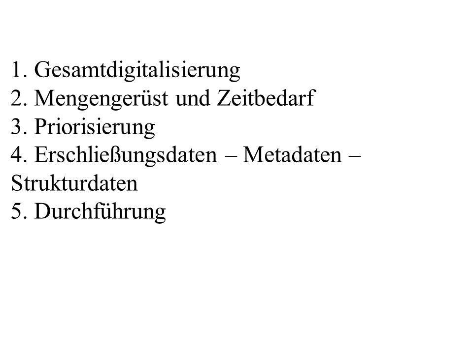 1. Gesamtdigitalisierung 2. Mengengerüst und Zeitbedarf 3. Priorisierung 4. Erschließungsdaten – Metadaten – Strukturdaten 5. Durchführung