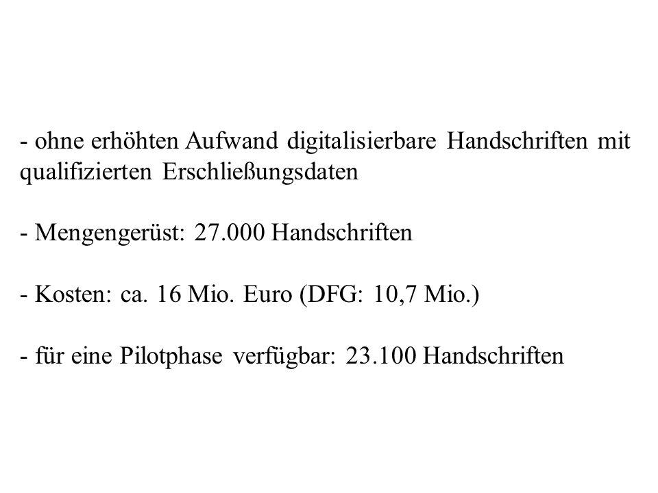 - ohne erhöhten Aufwand digitalisierbare Handschriften mit qualifizierten Erschließungsdaten - Mengengerüst: 27.000 Handschriften - Kosten: ca. 16 Mio