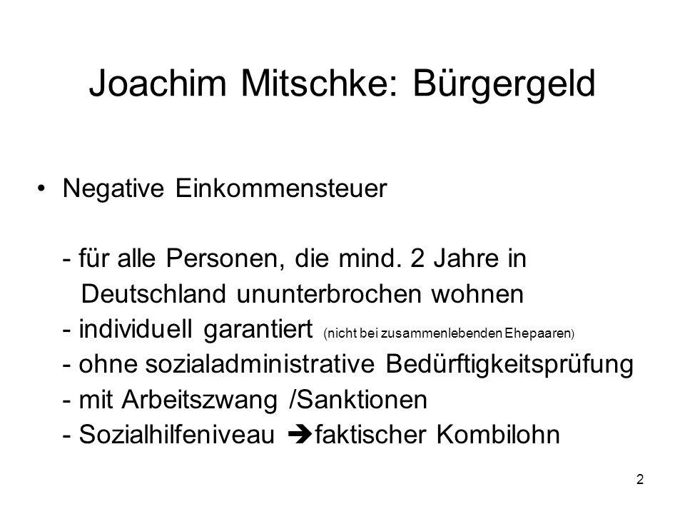 2 Joachim Mitschke: Bürgergeld Negative Einkommensteuer - für alle Personen, die mind.