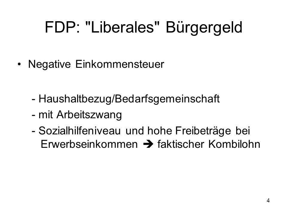 4 FDP: Liberales Bürgergeld Negative Einkommensteuer - Haushaltbezug/Bedarfsgemeinschaft - mit Arbeitszwang - Sozialhilfeniveau und hohe Freibeträge bei Erwerbseinkommen faktischer Kombilohn