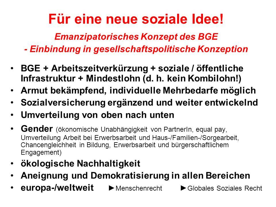 Für eine neue soziale Idee! Emanzipatorisches Konzept des BGE - Einbindung in gesellschaftspolitische Konzeption BGE + Arbeitszeitverkürzung + soziale