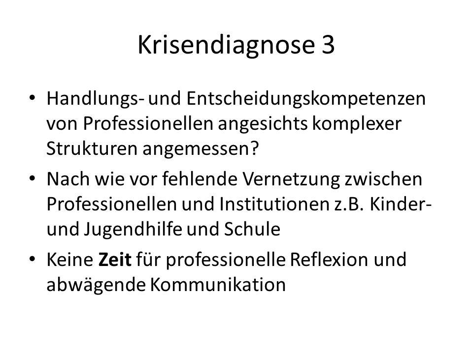 Krisendiagnose 3 Handlungs- und Entscheidungskompetenzen von Professionellen angesichts komplexer Strukturen angemessen? Nach wie vor fehlende Vernetz