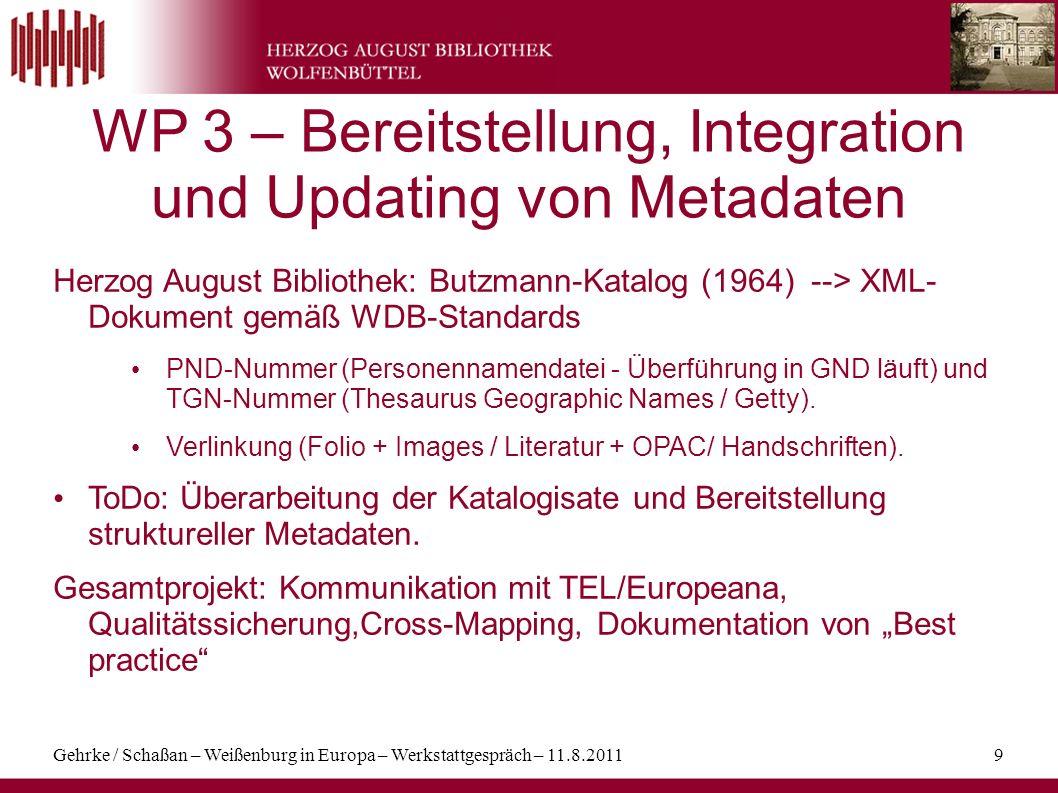 Gehrke / Schaßan – Weißenburg in Europa – Werkstattgespräch – 11.8.20119 WP 3 – Bereitstellung, Integration und Updating von Metadaten Herzog August B