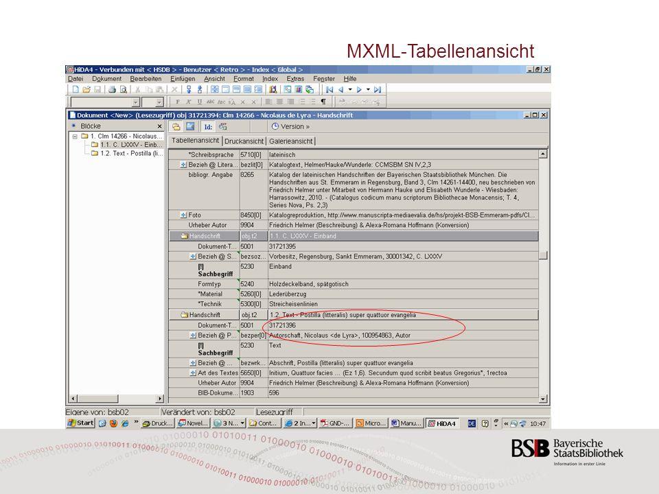 MXML-Tabellenansicht