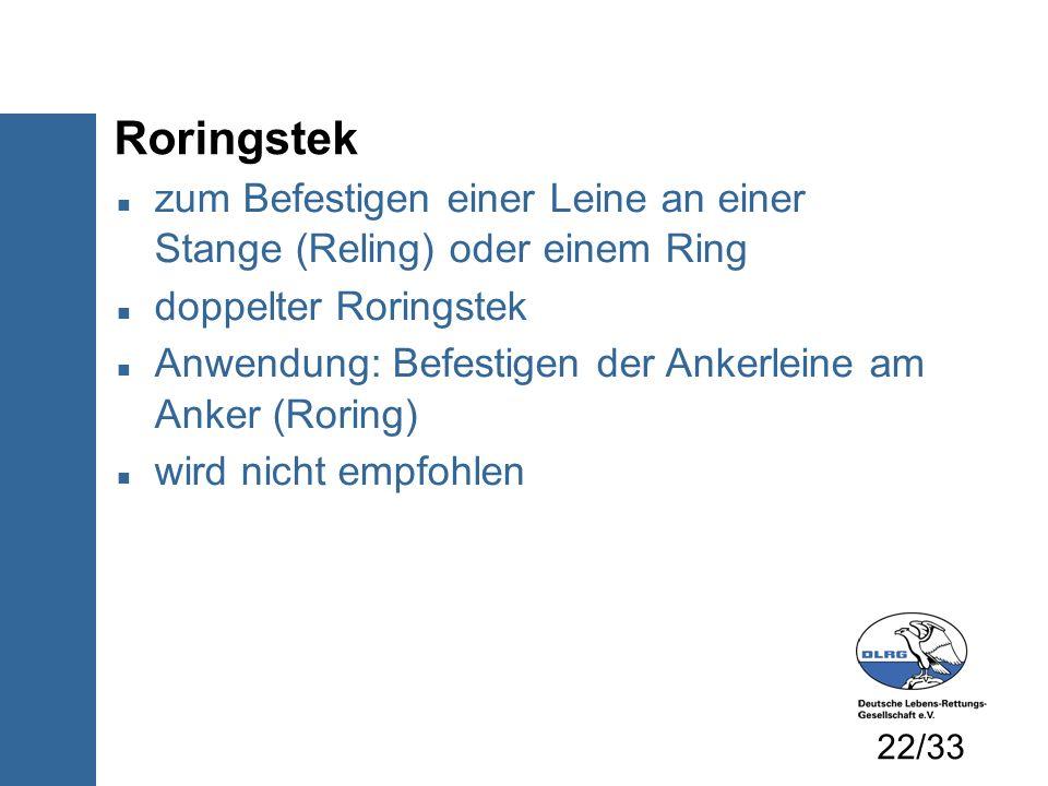 Roringstek zum Befestigen einer Leine an einer Stange (Reling) oder einem Ring doppelter Roringstek Anwendung: Befestigen der Ankerleine am Anker (Ror