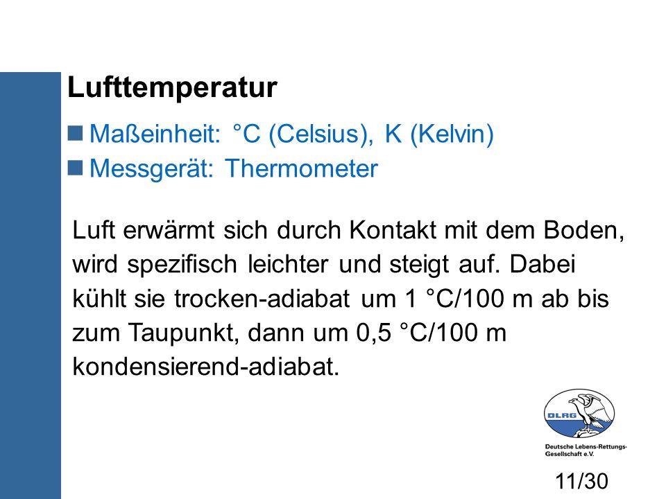 Lufttemperatur Maßeinheit: °C (Celsius), K (Kelvin) Messgerät: Thermometer Luft erwärmt sich durch Kontakt mit dem Boden, wird spezifisch leichter und