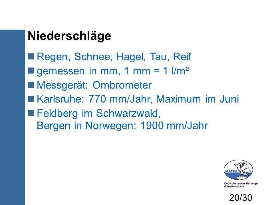 Niederschläge Regen, Schnee, Hagel, Tau, Reif gemessen in mm, 1 mm = 1 l/m² Messgerät: Ombrometer Karlsruhe: 770 mm/Jahr, Maximum im Juni Feldberg im