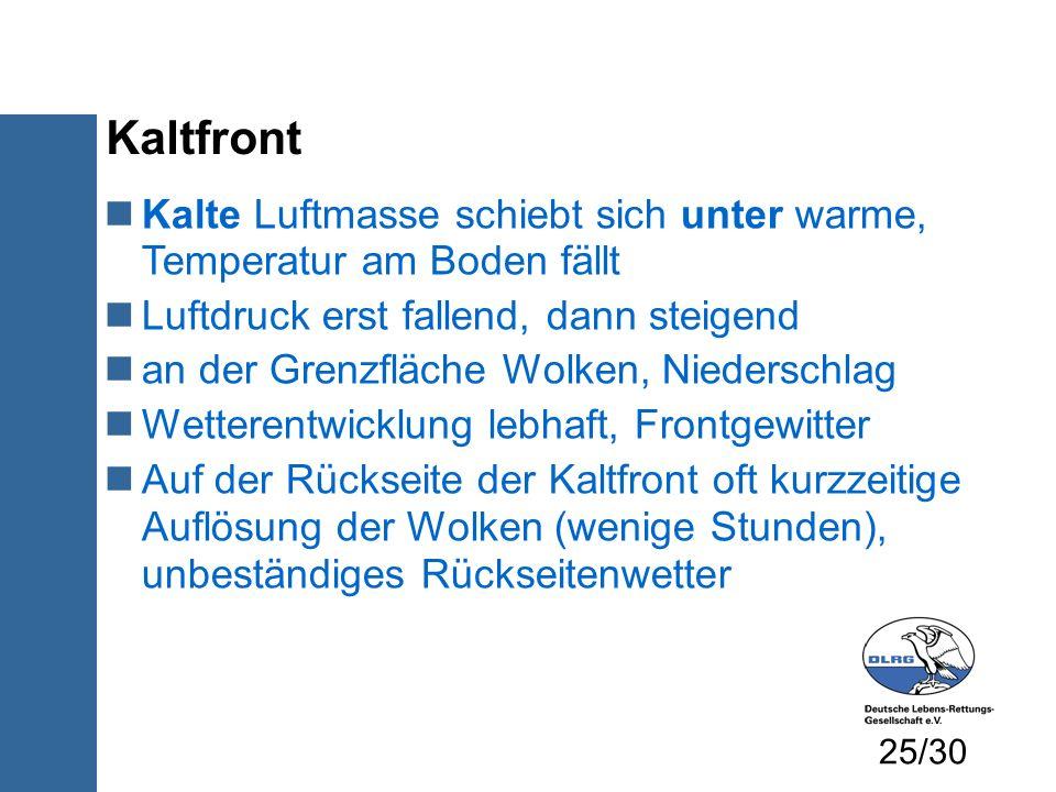 Kaltfront Kalte Luftmasse schiebt sich unter warme, Temperatur am Boden fällt Luftdruck erst fallend, dann steigend an der Grenzfläche Wolken, Nieders