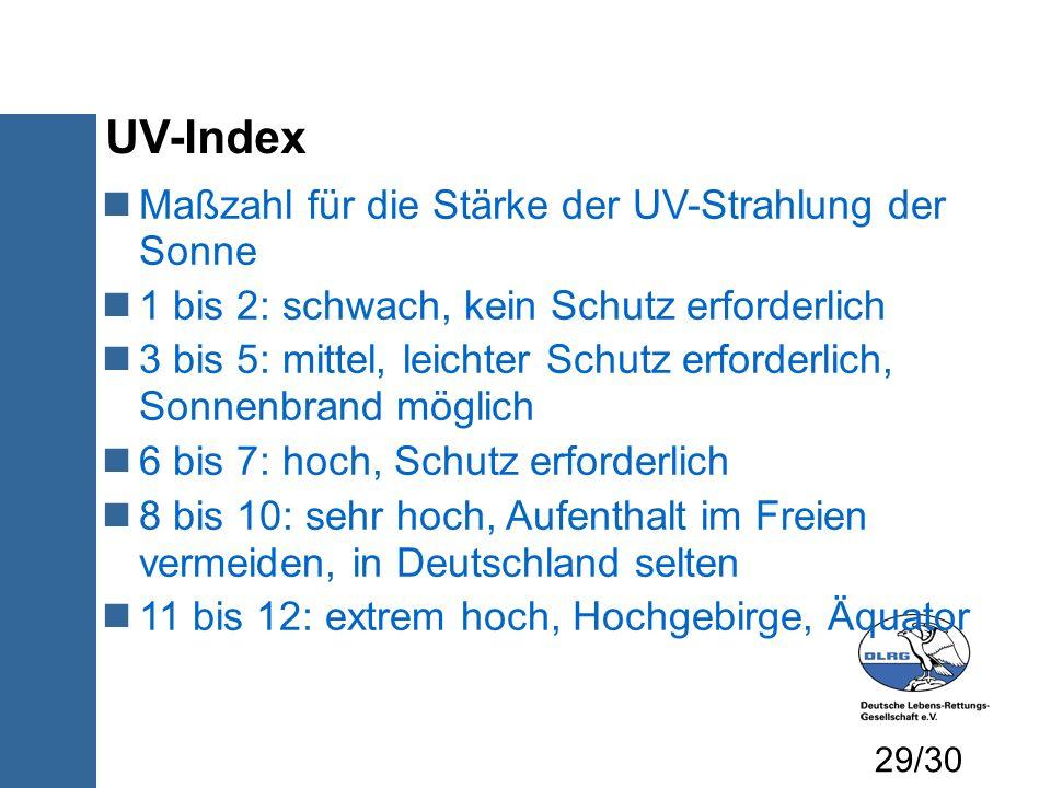 UV-Index Maßzahl für die Stärke der UV-Strahlung der Sonne 1 bis 2: schwach, kein Schutz erforderlich 3 bis 5: mittel, leichter Schutz erforderlich, S