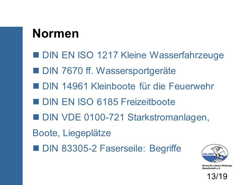 Normen DIN EN ISO 1217 Kleine Wasserfahrzeuge DIN 7670 ff. Wassersportgeräte DIN 14961 Kleinboote für die Feuerwehr DIN EN ISO 6185 Freizeitboote DIN