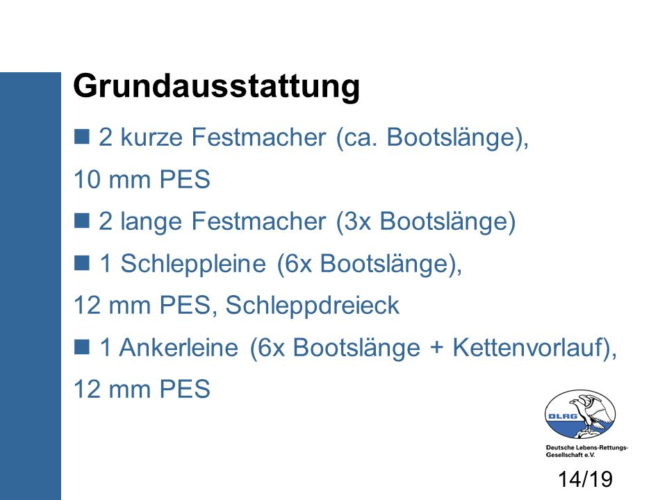2 kurze Festmacher (ca. Bootslänge), 10 mm PES 2 lange Festmacher (3x Bootslänge) 1 Schleppleine (6x Bootslänge), 12 mm PES, Schleppdreieck 1 Ankerlei