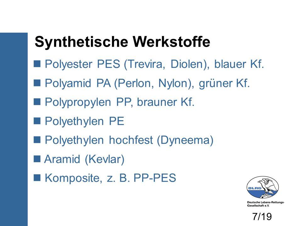 Polyester PES (Trevira, Diolen), blauer Kf. Polyamid PA (Perlon, Nylon), grüner Kf. Polypropylen PP, brauner Kf. Polyethylen PE Polyethylen hochfest (