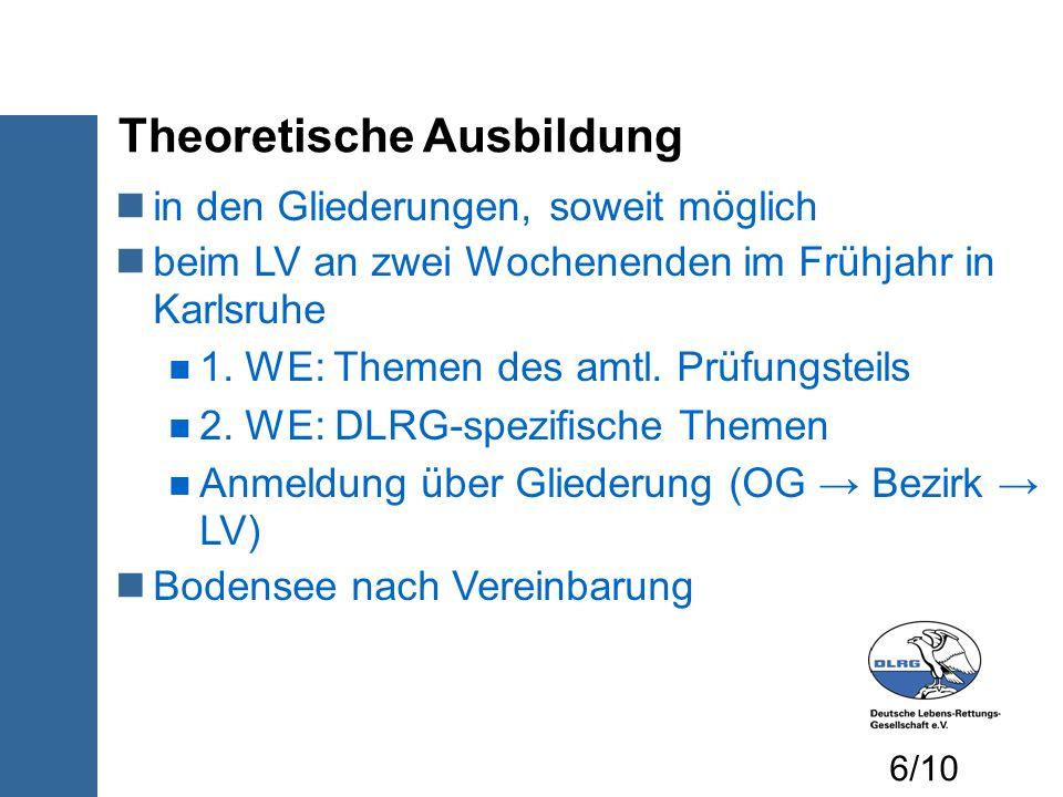Theoretische Ausbildung in den Gliederungen, soweit möglich beim LV an zwei Wochenenden im Frühjahr in Karlsruhe 1. WE: Themen des amtl. Prüfungsteils