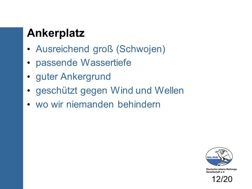 Ankerplatz Ausreichend groß (Schwojen) passende Wassertiefe guter Ankergrund geschützt gegen Wind und Wellen wo wir niemanden behindern 12/20